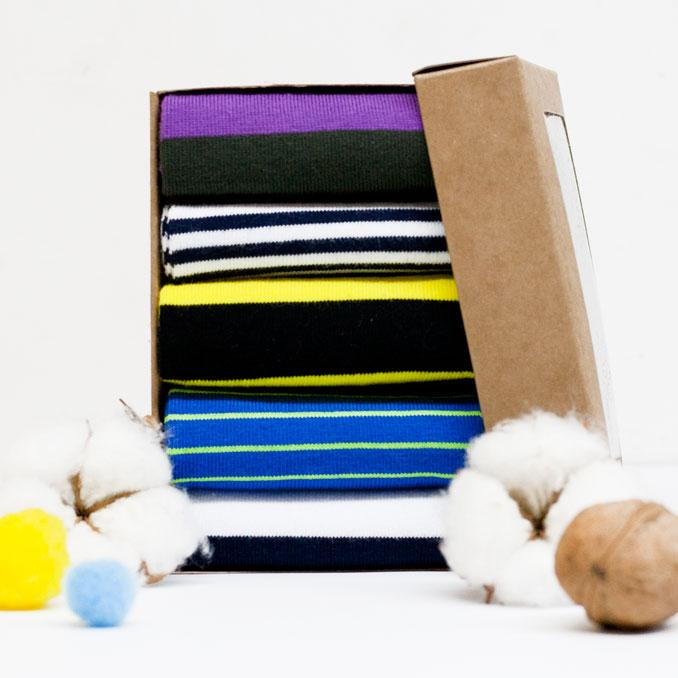 Набор ярких носков из 5 пар Wide Stripe Box (005)