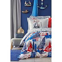 Постельное белье Karaca Home - Mag Hutson mavi 2019-2 голубой ранфорс подростковое