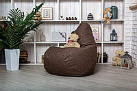 Коричневое Кресло мешок груша пуфик  XL (120х75) рогожка