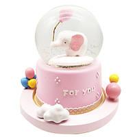 """Водяной шар """"Слоник"""" снежный шар,  музыкальный с автоподдувом ,  цвет розовы, размер 18см"""