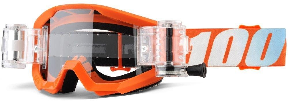 Детские мото очки 100% STRATA JR Mud Goggle Orange - Clear Lens, Roll-Off