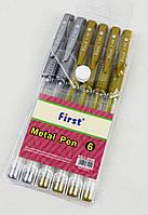 Набір гелевих ручок з блиском 6шт - 4 золото + 2 срібло