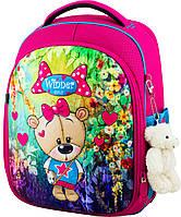 Рюкзак ортопедический школьный каркасный для девочки 1-4 класс розовый Winner One 6011 с мишкой 29*17*36 см
