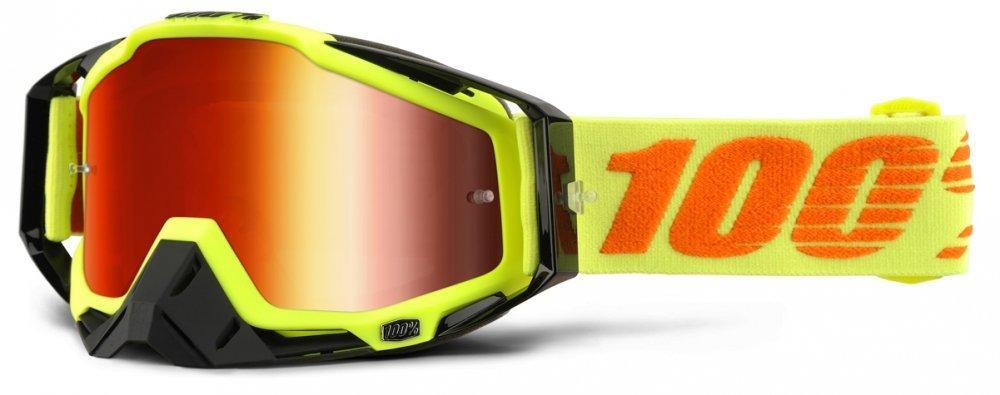 Мото очки 100% RACECRAFT Goggle Attack Yellow - Mirror Red Lens, Mirror Lens