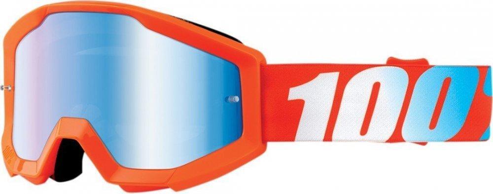 Детские мото очки 100% STRATA JR Goggle Orange - Mirror Blue Lens, Mirror Lens
