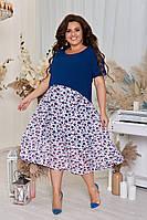 Платье большого размера длинное комбинированное синее, фото 1