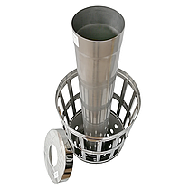 Труба-корзина (ребро) ø120 мм 1 мм 1 метр AISI 321 Stalar для камней дымохода сауны бани из нержавеющей стали, фото 3
