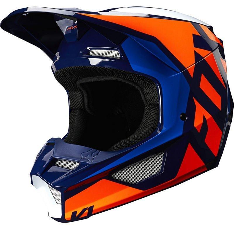 Детский мотошлем FOX YTH V1 PRIX HELMET [ORANGE BLUE], YL