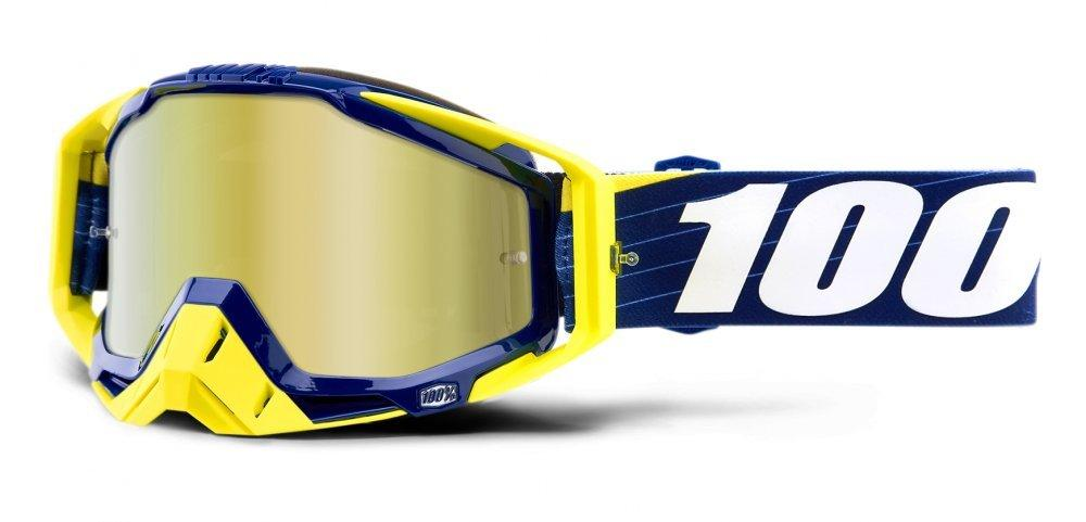 Мото очки 100% RACECRAFT Goggle Bibal/Navy - Mirror Gold Lens, Mirror Lens