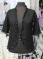 Нарядное ажурное женское болеро черного цвета