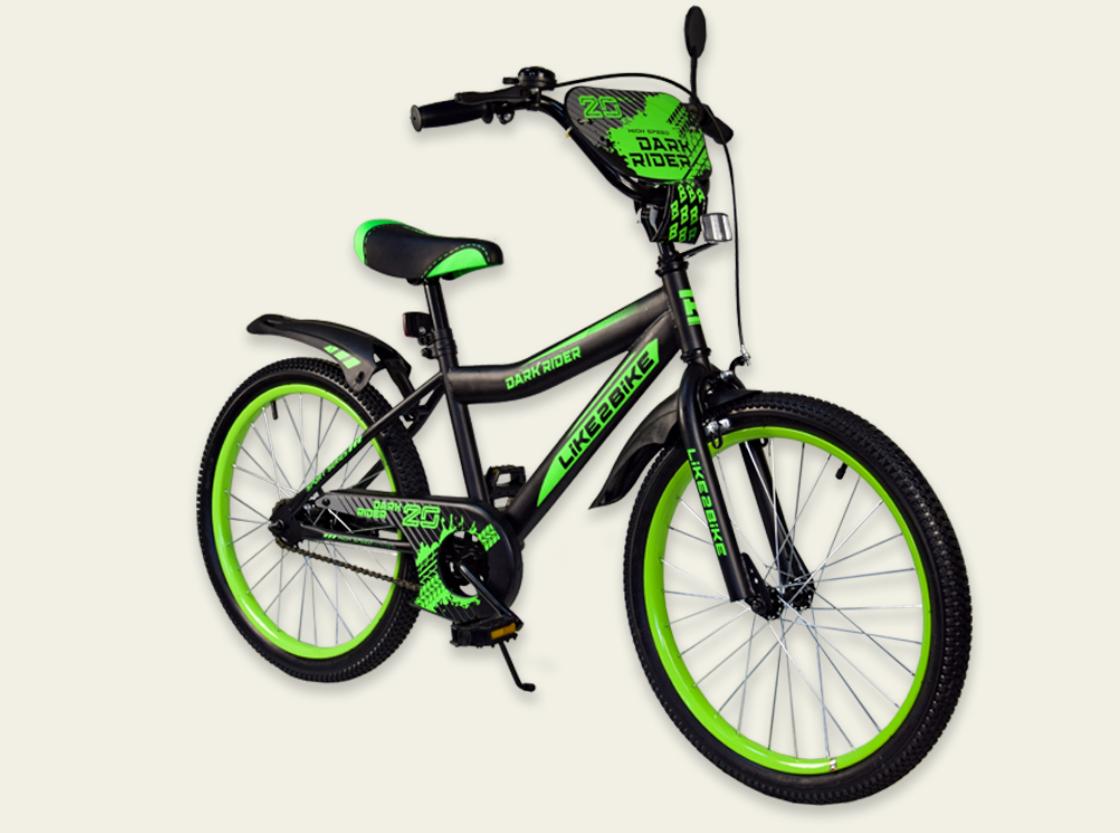Детский двухколесный велосипед колеса 20 дюймов 192019 Like2bike Dark Rider чёрно-салатовый