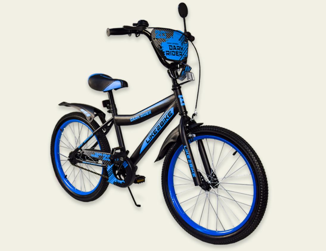 Дитячий двоколісний велосипед колеса 20 дюймів 192020 Like2bike Dark Rider чорно-синій