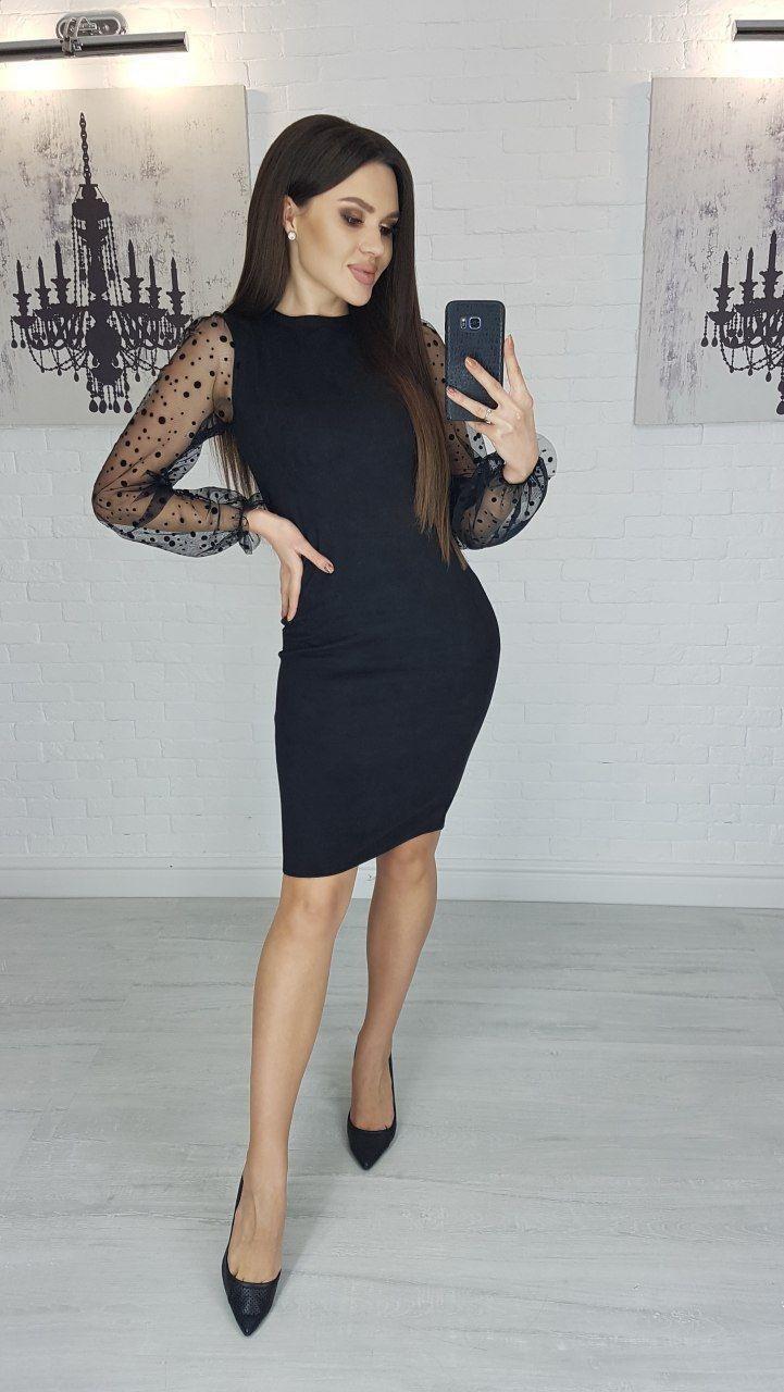 Платье Женское с прозрачными рукавами Замш