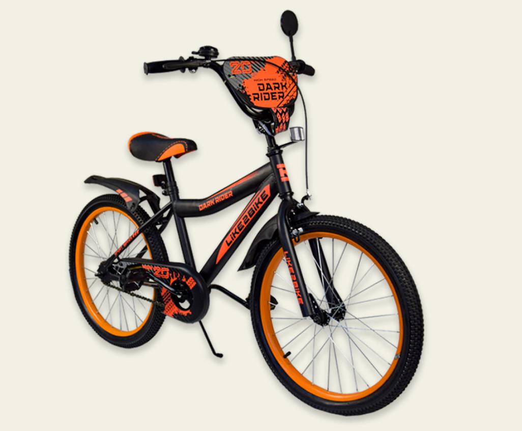 Детский двухколесный велосипед колеса 20 дюймов 192022 Like2bike Dark Rider чёрно-оранжевый