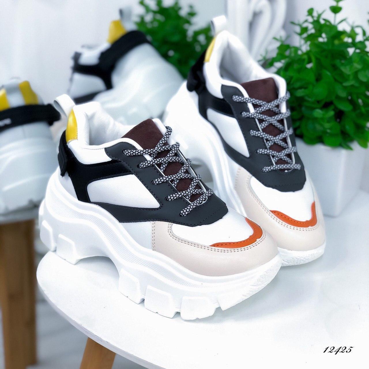Женские кроссовки из экокожи черно-белые, 40 размер