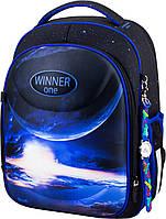 Рюкзак ортопедический школьный каркасный для мальчика 1-4 класса Winner One 6018 синий 29*17*36 см
