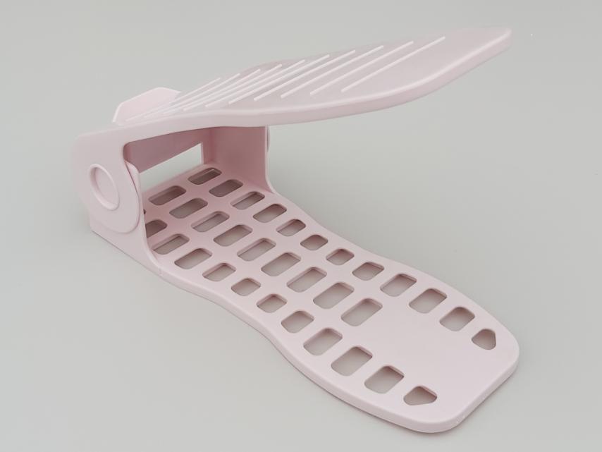 Двойная подставка-органайзер для обуви нежно-розового цвета. 4 положения регулировки высоты.