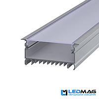 LED профиль для светодиодной ленты врезной LSV-70 алюминиевый с матовой крышкой (2м, 3м, 5м) 85(74)x33 мм, фото 1