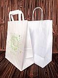 Пакеты с крученой ручкой из белой крафт бумаги, фото 2