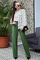 Блузка в цветочный принт из летней костюмки 1328 (44–50р) в расцветках, фото 1