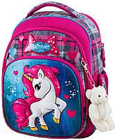 Рюкзак ортопедический школьный каркасный для девочки 1-4 класса Единорог Winner One 7005 серый 29*17*36 см
