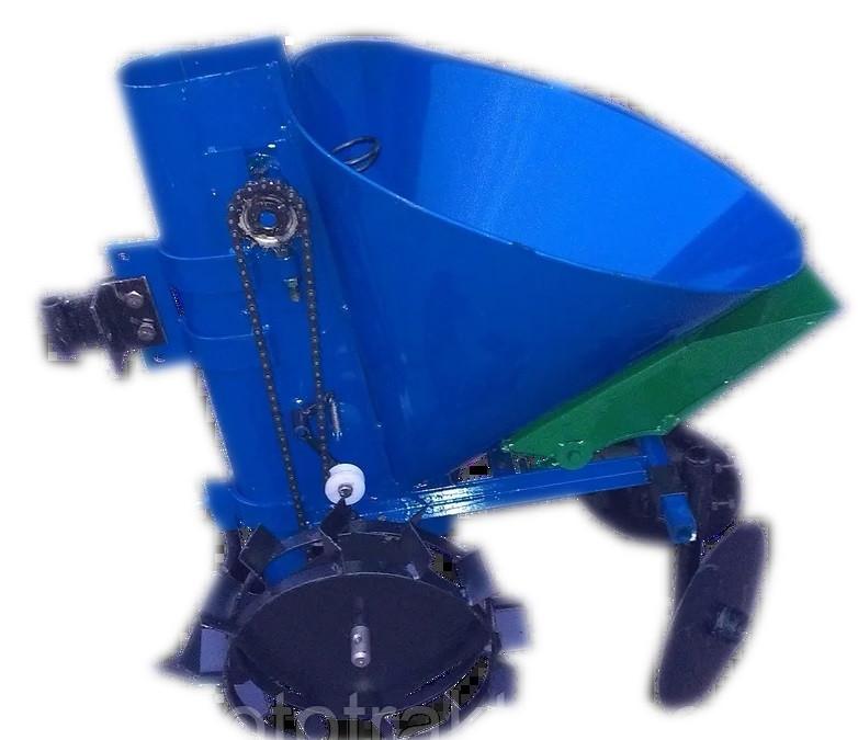 Картофелесажалка с бункером для удобрений  К-1ЦУ (синяя)