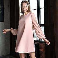 Платье трикотажное с длинным рукавом из шифона, Персиковый цвет