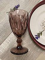Бокалы фужеры для вина из цветного стекла Розовый мокко ромб (6 предметов)