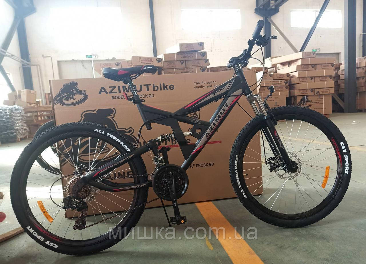 """Велосипед горный двухподвесной Azimut Shock GFRD 26"""", черный"""