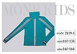 Комплект: гольф + футболки, трикотаж з начосом, морська хвиля, Моне, р. 140,146,152,164, фото 4