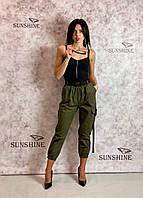 Женские брюки-джоггеры из котона