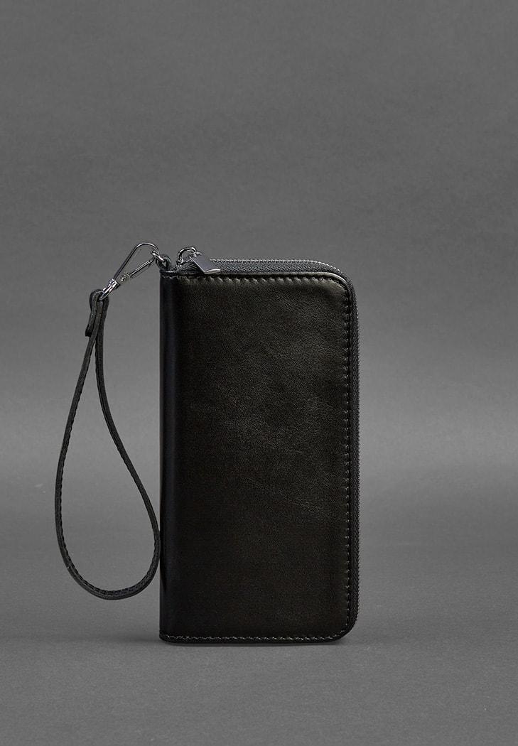 Портмоне кожаное универсальное на молнии с ремешком на руку. Цвет черный