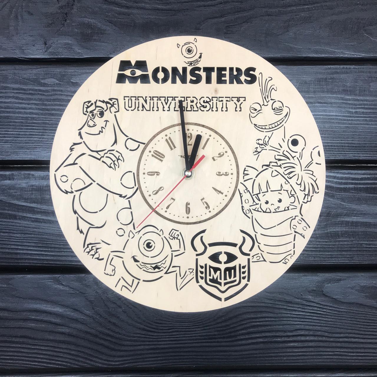 Оригинальные детские часы из дерева «Университет монстров»