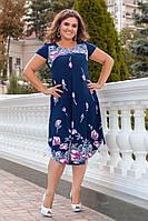 Женственное платье с красочным цветочным принтом и оголенными плечами, фото 1