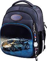 Рюкзак ортопедический школьный для мальчика 1-4 класса Машина Winner One 7007 серый 29*17*36 см
