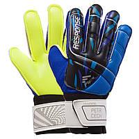 Детские вратарские перчатки Reusch салатово-синие replica