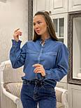 Женская синяя рубашка коттон под джинс, фото 5