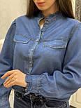 Женская синяя рубашка коттон под джинс, фото 6