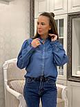 Женская синяя рубашка коттон под джинс, фото 7