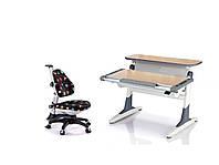 Комплект парта TH-333 NOBLESSE Бук  с серыми вставками  + Кресло ROYCE KINDER (KY318) LB