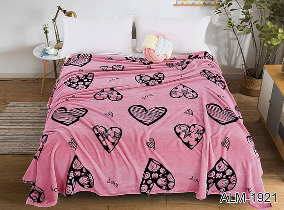 Плед покрывало 200х220 велсофт Сердца на кровать, диван, фото 2