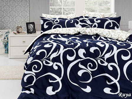 Комплект постельного белья First Choice Сатин Люкс Ruya Lacivert, фото 2