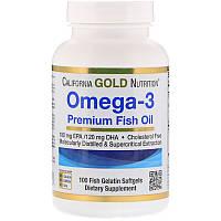 Рыбий жир, Омега California Gold Nutrition, Omega 3, 100caps