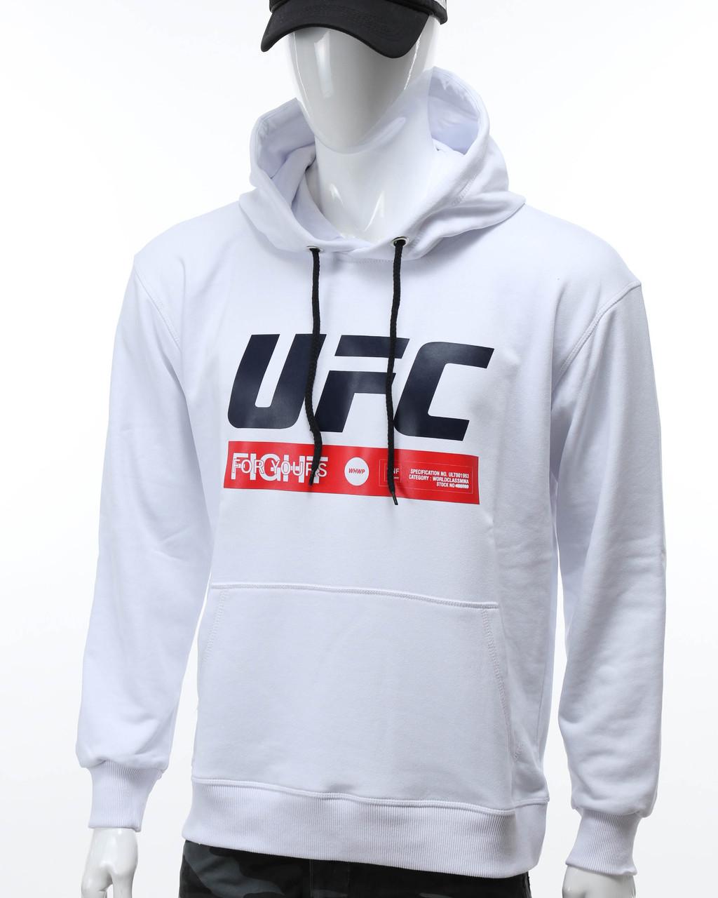 """Худи белый UFC """"FIGHT"""" с лого Т-2 WHT L(Р) 20-471-201"""