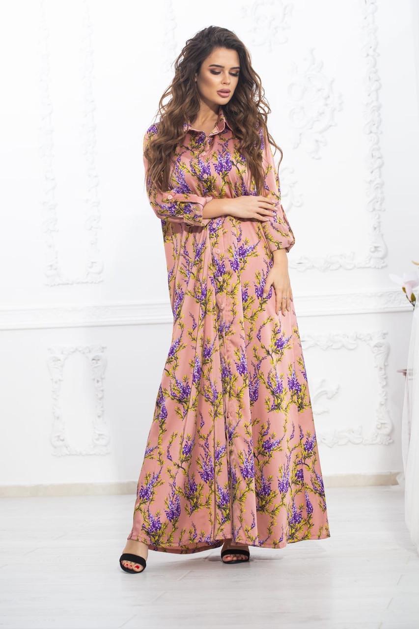 Платье длинное свободного кроя шелк