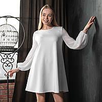 Платье трикотажное с длинным рукавом из шифона, Белый цвет