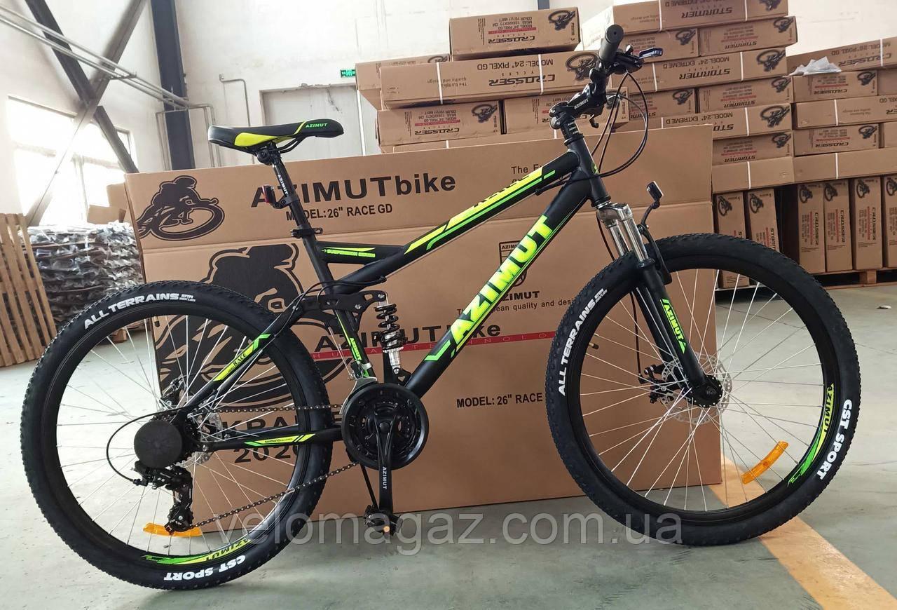 """Велосипед гірський двопідвісний AZIMUT Race GFRD 26"""" рама 18"""", чорно-салатовий"""