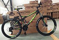 """Велосипед гірський двопідвісний AZIMUT Race GFRD 26"""" рама 18"""", чорно-салатовий, фото 1"""