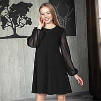 Платье трикотажное с длинным рукавом из шифона, Чёрный цвет