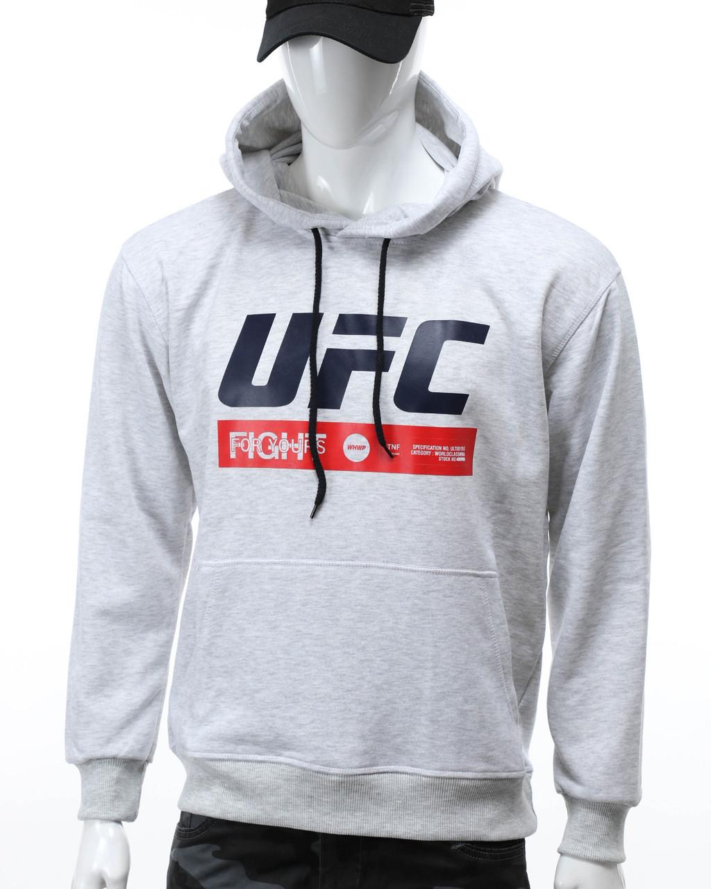 "Худи бел меланж UFC ""FIGHT"" с лого Т-2 WTGRI L(Р) 20-471-201"